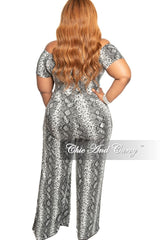 New Plus Size Chic And Curvy Exclusive Ruched Drawstring Jumpsuit in Snake Print