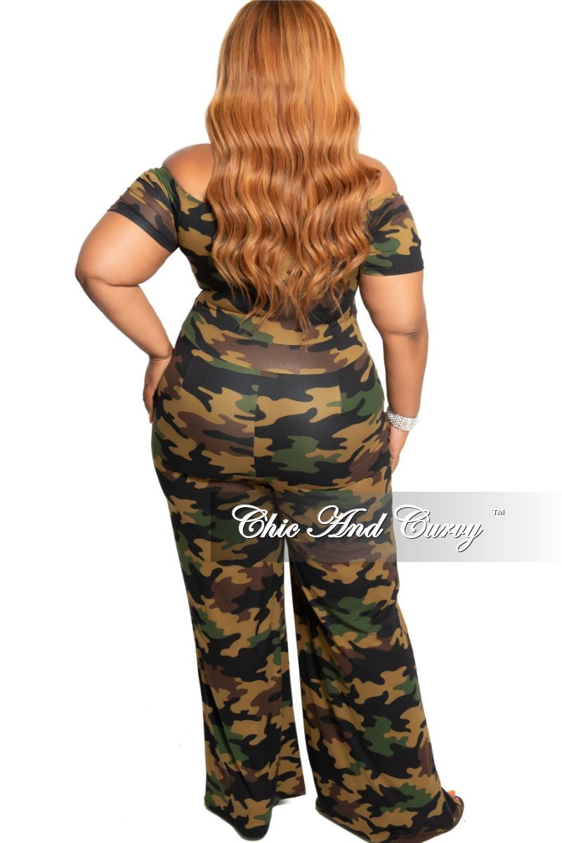 New Plus Size Chic And Curvy Exclusive Ruched Drawstring Jumpsuit in Camouflage Print