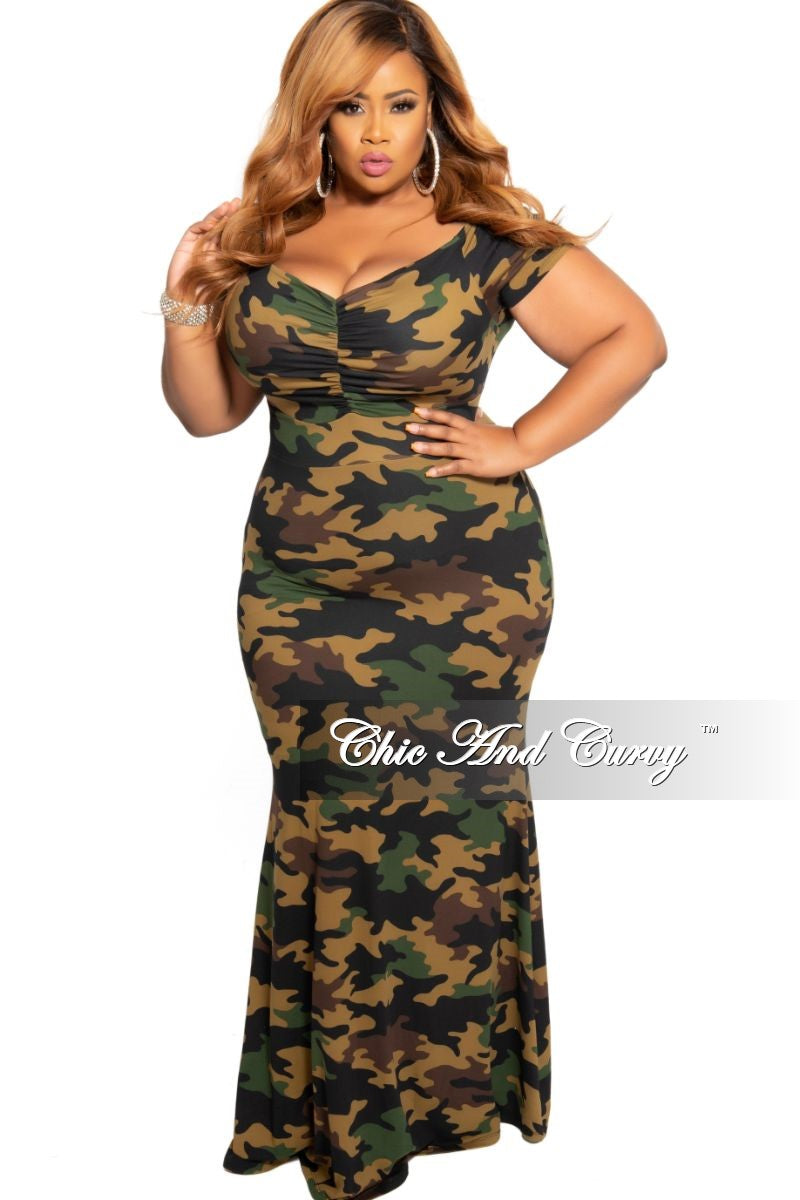New Plus Size Chic And Curvy Exclusive Ruched Maxi Dress in Camouflage Print