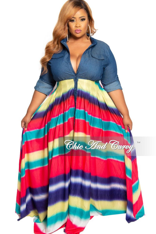 Final Sale Plus Size Denim and Multi Color Stripe Maxi
