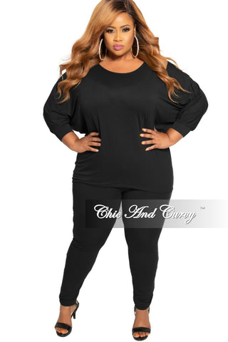 New Plus Size Off the Shoulder Jumpsuit in Black