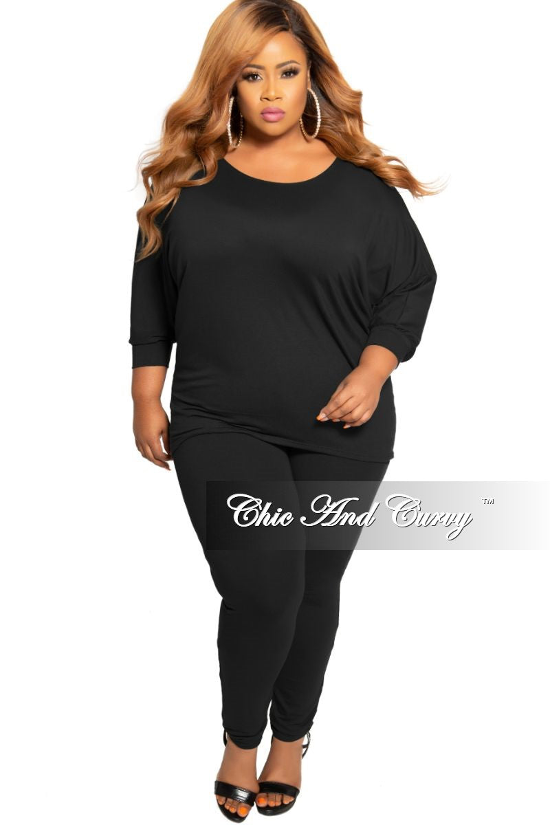New Plus Size 2-Piece Top and Legging Set in Black