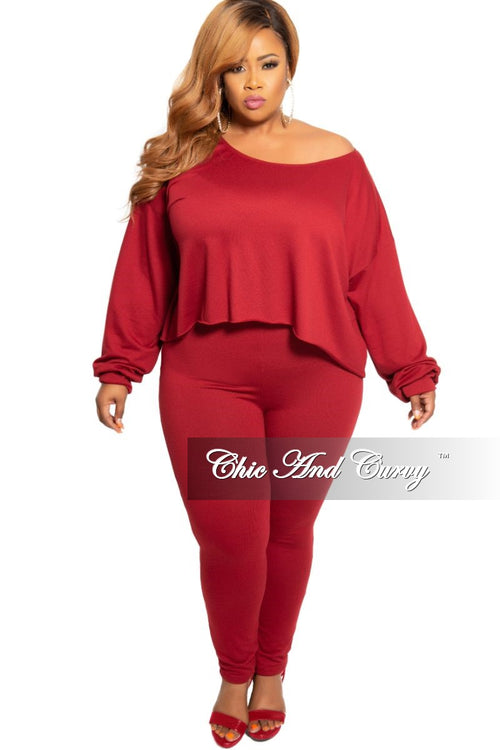 New Plus Size 2-Piece Long Sleeve Top and Pants Set in Burgundy