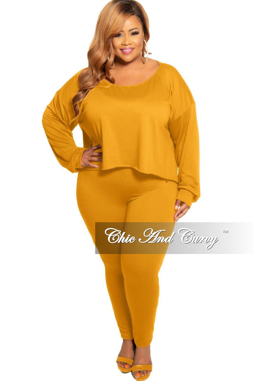 New Plus Size 2-Piece Long Sleeve Top and Pants Set in Mustard