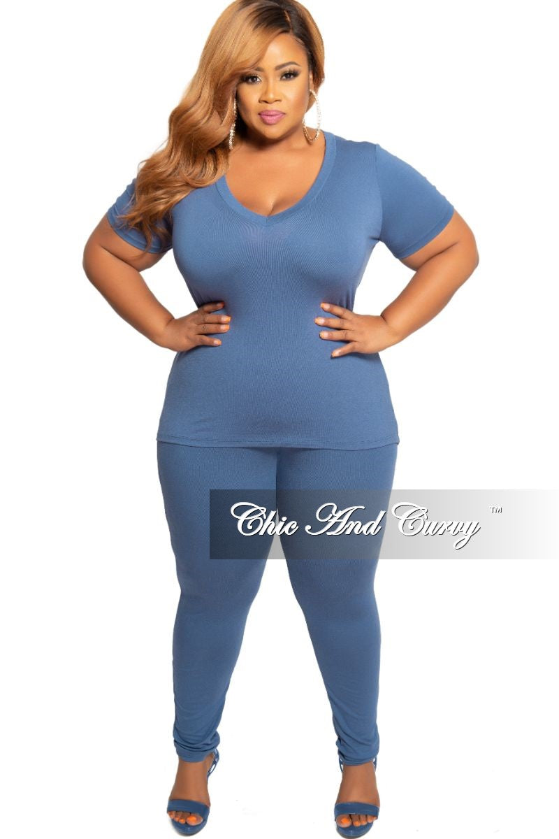 New Plus Size 2-Piece V-Neck Top and Legging Set in French Navy