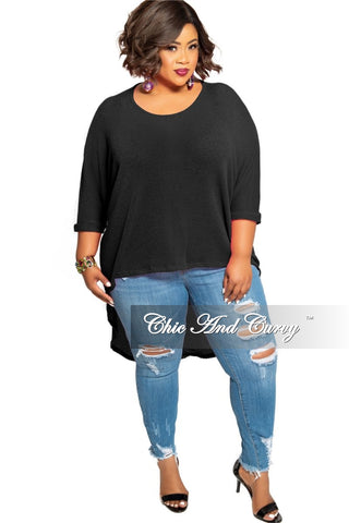 Final Sale Plus Size High Waist Bell Bottom Ruffle Stretch Jeans in Dark Denim
