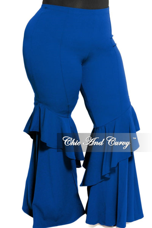Final Sale Plus Size High Waist Ruffle Bell Bottom Pants in Royal Blue