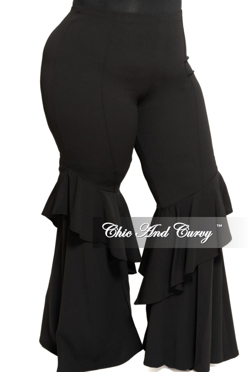 Final Sale Plus Size High Waist Ruffle Bell Bottom Pants in Black