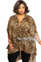 Final Sale Plus Size Chiffon Button Up Collar Oversized High-Low Top in Animal Print