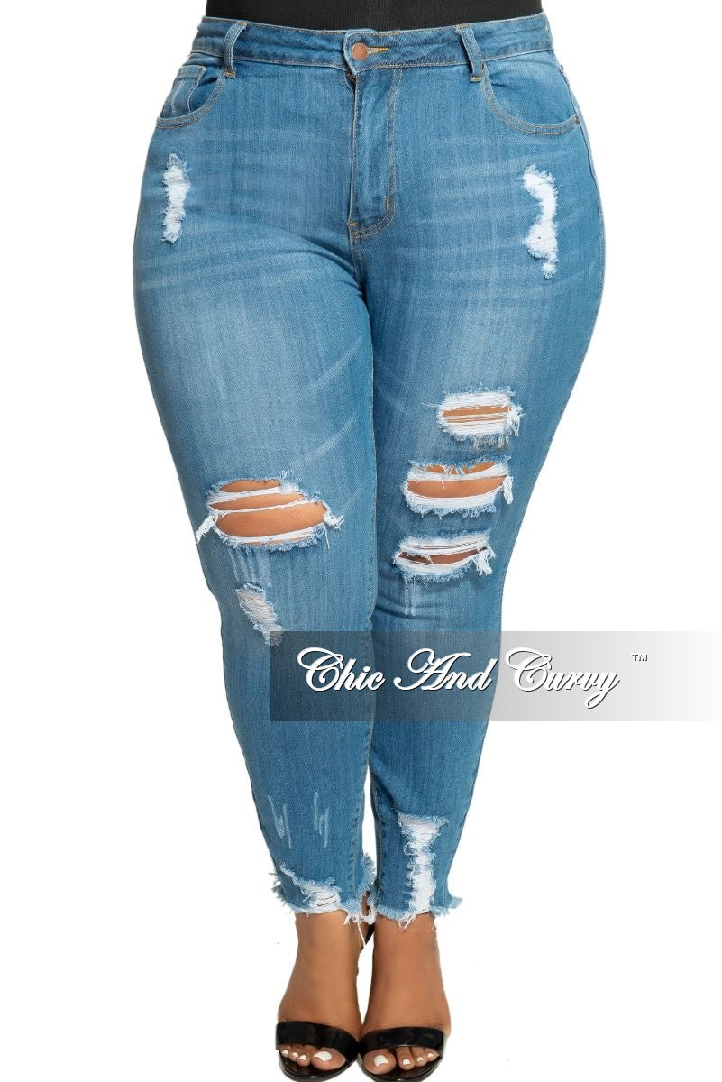 Final Sale Plus Size High Waist Distressed Denim Jeans with Holes