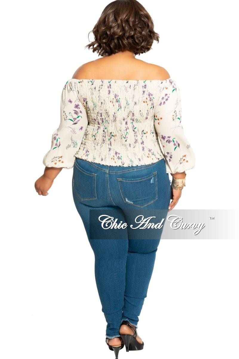 New Plus Size Off the Shoulder Top in Beige Floral Print