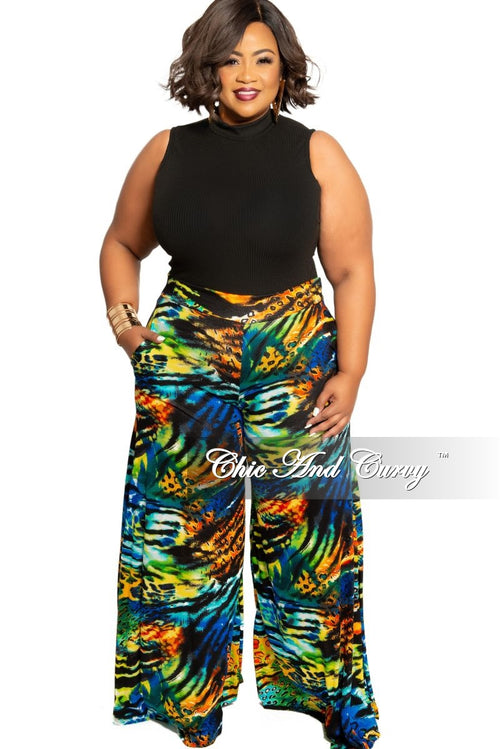 New Plus Size Palazzo Pants in Multi Color Print
