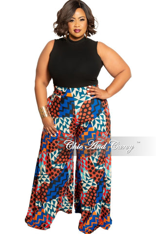 New Plus Size High-Waist Wide Leg Pants in Dark Teal
