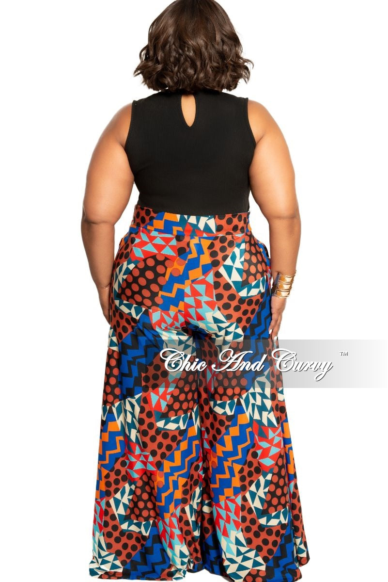 New Plus Size Polka Dot Palazzo Pants in Multi Color Zig-Zag Print