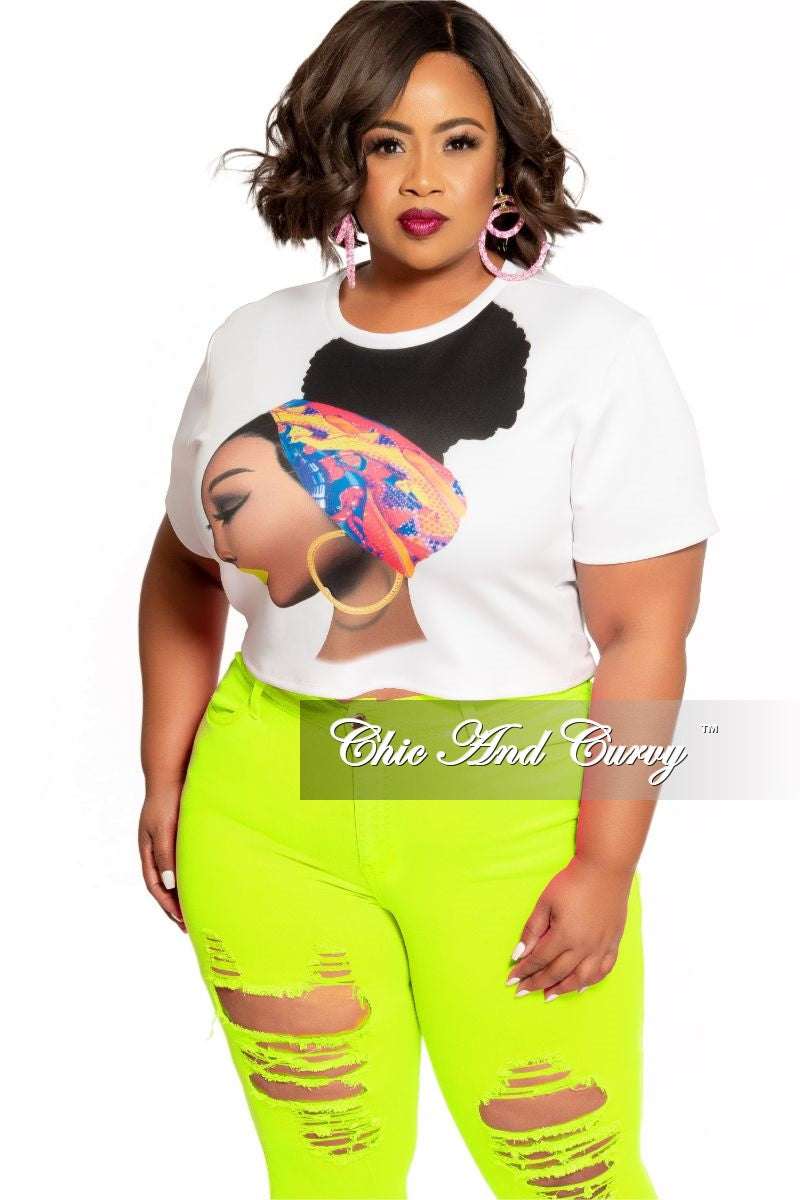 Final Sale Plus Size Afrocentric Top in White Multi Color Print