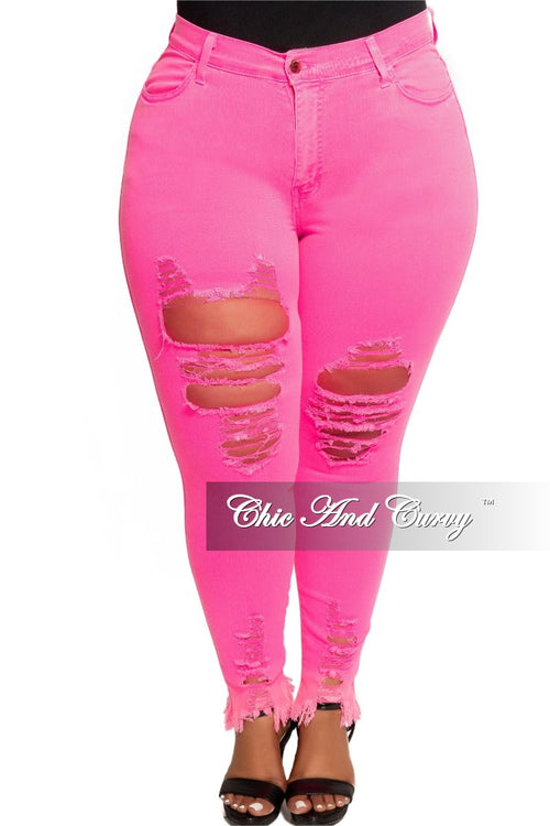 Final Sale Plus Size High Waist Distressed Jeans in Neon Pink