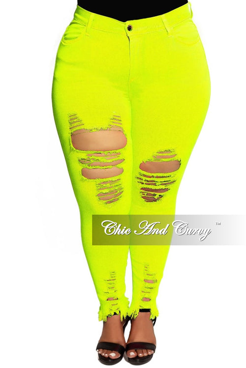 Final Sale Plus Size High Waist Distressed Jeans in Neon Yellow