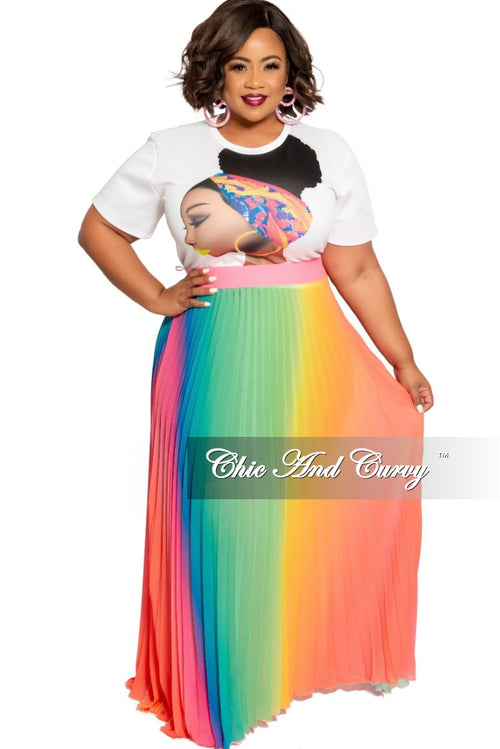 Final Sale Plus Size Chiffon Pleated Skirt in Rainbow Print