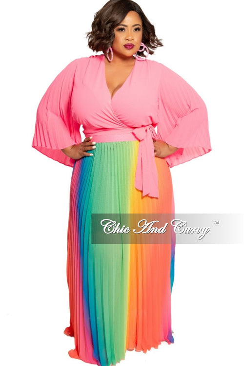 Final Sale Plus Size Chiffon Pleated Wrap Tie Top in Neon Pink