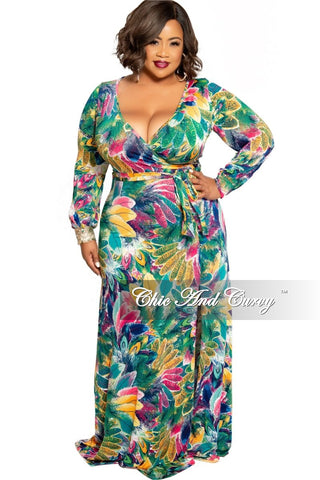 Final Sale Plus Size Wrap Dress with 3/4 Sleeves and Tie in Black Green White and Yellow Leaf Chain Print