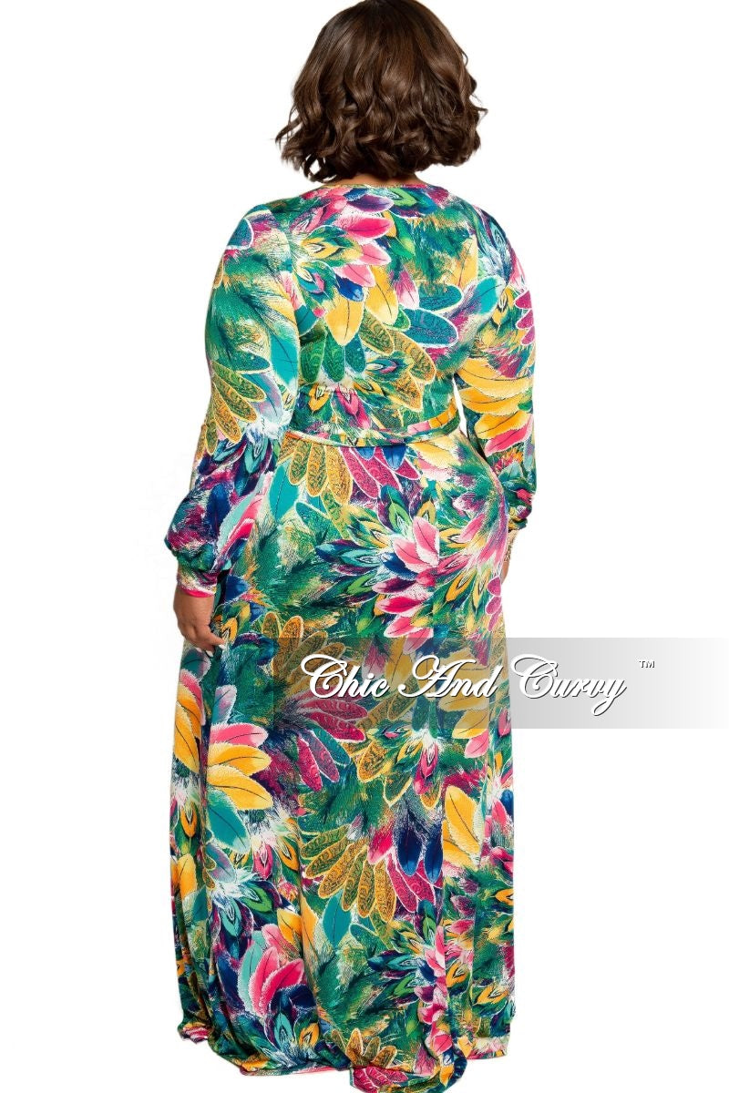 Final Sale Plus Size Faux Wrap Dress in Multi Color Floral Print