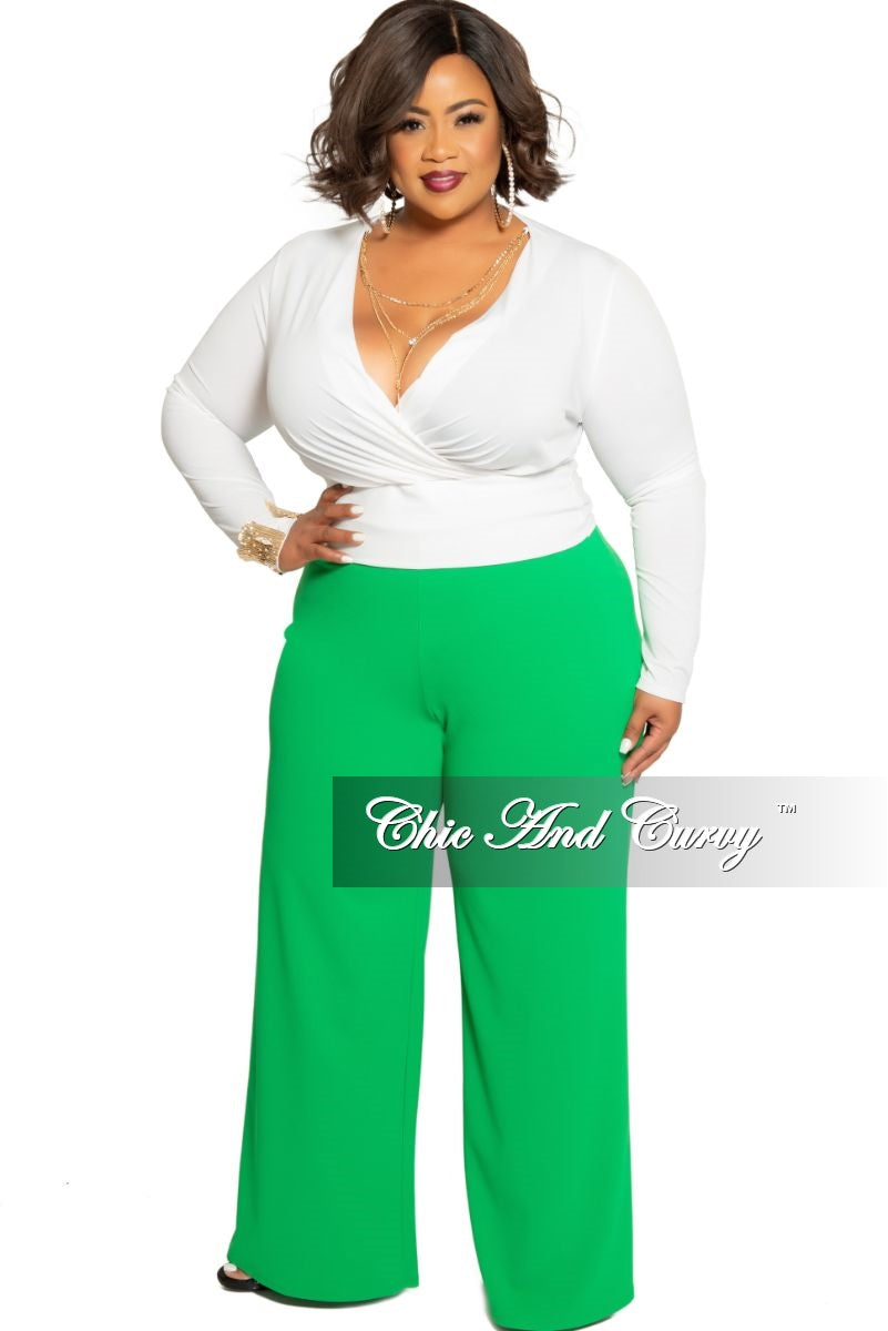 Final Sale Plus Size High-Waist Wide Leg Pants with Back Gold Zipper in Green