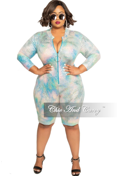 Final Sale Plus Size Hologram Zip-Up Romper in Pastel Multi Color