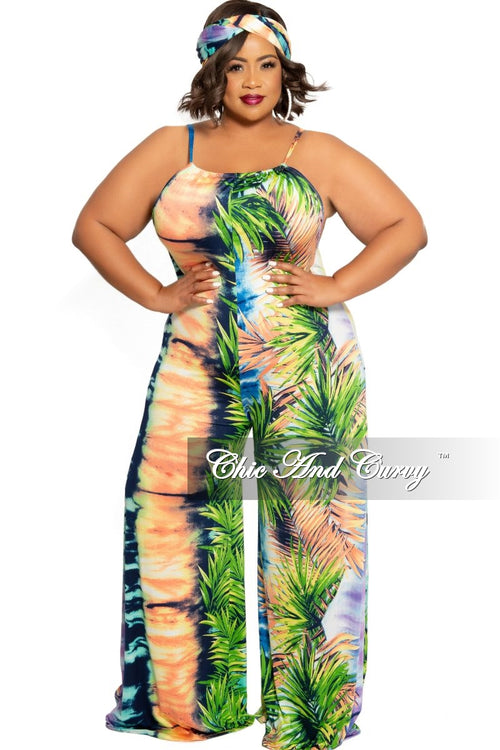 New Plus Size Front Keyhole Jumpsuit and Matching Head Wrap in Lavender,Orange,Green Leaf Print