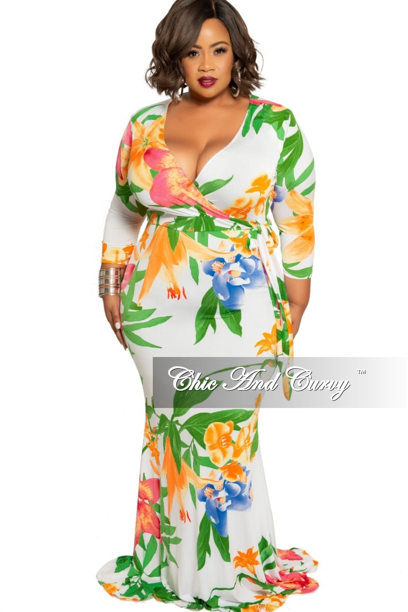 e300994a46555 Final Sale Plus Size White Faux Wrap Dress with Orange Pink Blue and Green  Floral Print