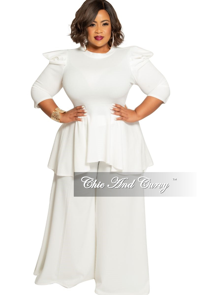 Final Sale Plus Size 2-Piece High-Low Top and Palazzo Pant Set in Ivory