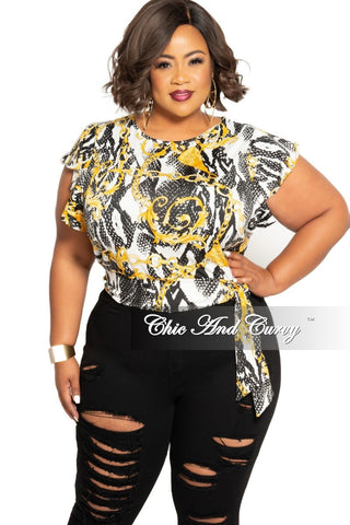 Final Sale Plus Size Mesh Tie Top in Neon Green Snake Skin Print