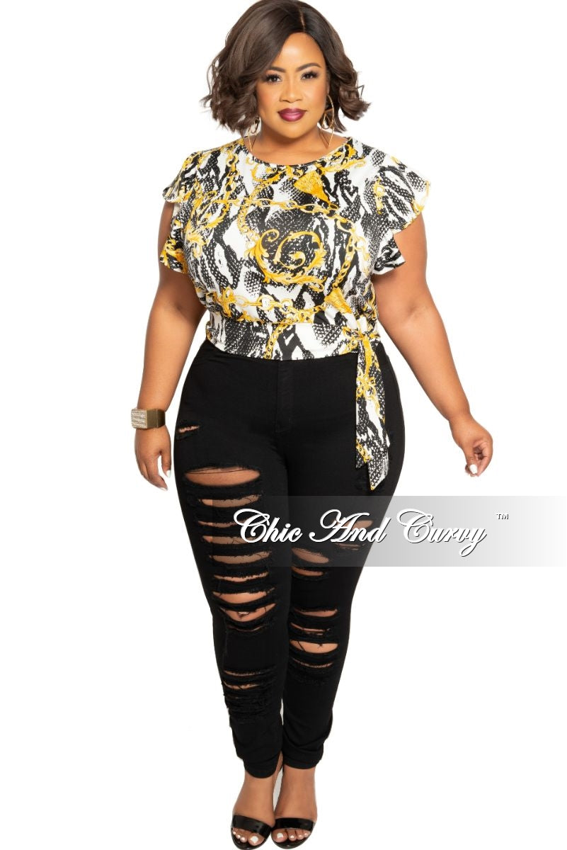 New Plus Size Back Keyhole Top with Side Tie in White Black Yellow Chain Print