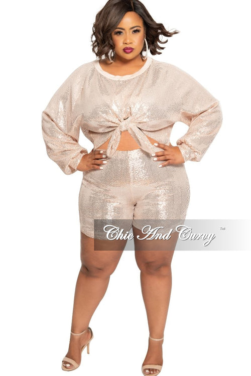 Final Sale Plus Size 2-Piece Sequin Long Sleeve Crop Tie Top and Short Set in Rose
