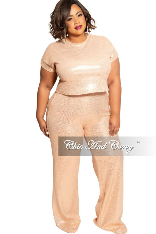 Final Sale Plus Size 2-Piece Ribbed Foil Top and Pants Set in Peach