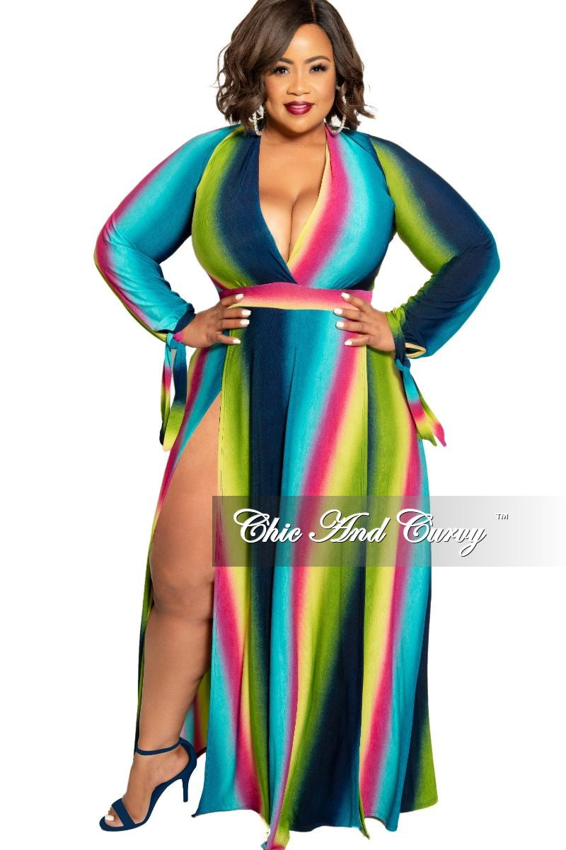 New Plus Size Faux Wrap Maxi Dress with Double Slits in Green Navy Magenta  and Teal