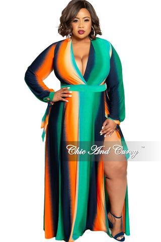 Final Sale Plus Size Collared Button Up Maxi Dress with Attached Tie in Powder Blue Multi Color Abstract Wheel Print