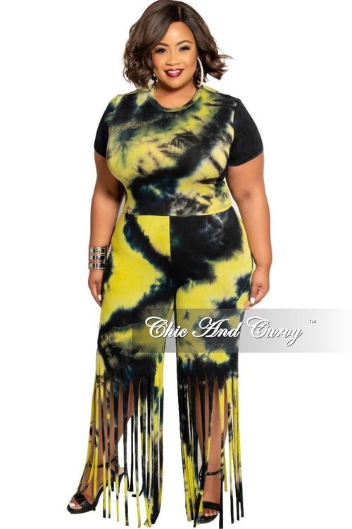 Final Sale Plus Size 2-Piece Short Sleeve Top with Fringe Cut Pants in Black and Neon Yellow Tie Dye Print