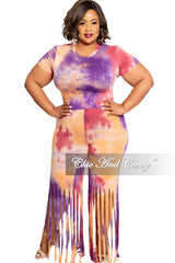 Final Sale Plus Size 2-Piece Short Sleeve Top with Fringe Cut Pants in Purple Multi Tie Dye Print