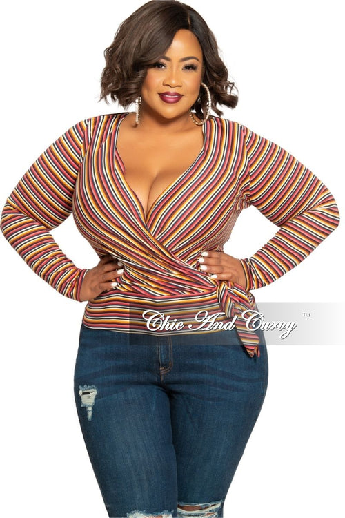New Plus Size Deep V Faux Wrap Side Tie Top in Wine Multi Color Stripe Print