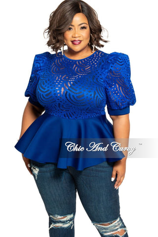 New Plus Size Faux Wrap Peplum Top with Flutter Sleeves in Red with White Trim