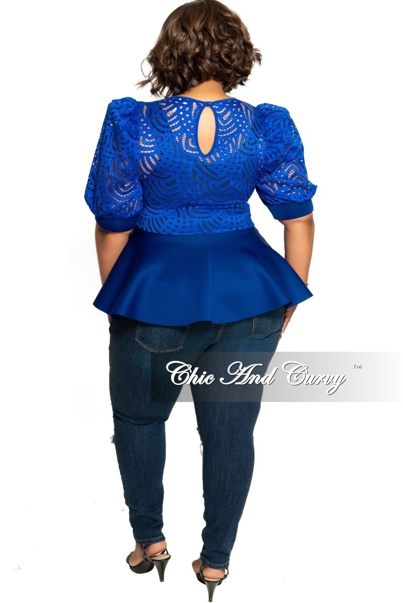 Final Sale Plus Size Lace Top with Peplum Bottom in Royal Blue Scuba