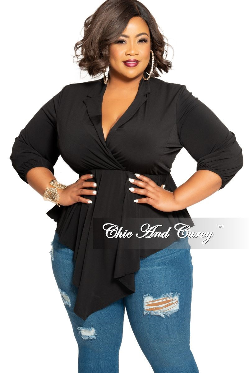 New Plus Size Collar Faux Wrap High-Low Top in Black