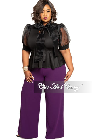 New Plus Size 2-Piece Jacket and Pants Suit in Black Rose Print