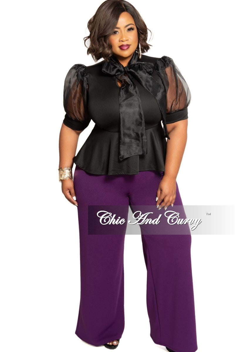 Final Sale Plus Size High-Waist Wide Leg Pants with Back Gold Zipper in Violet