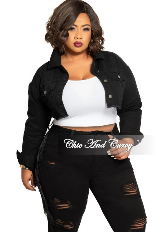 Final Sale Plus Size Crop Jacket with Distressed Back in Black