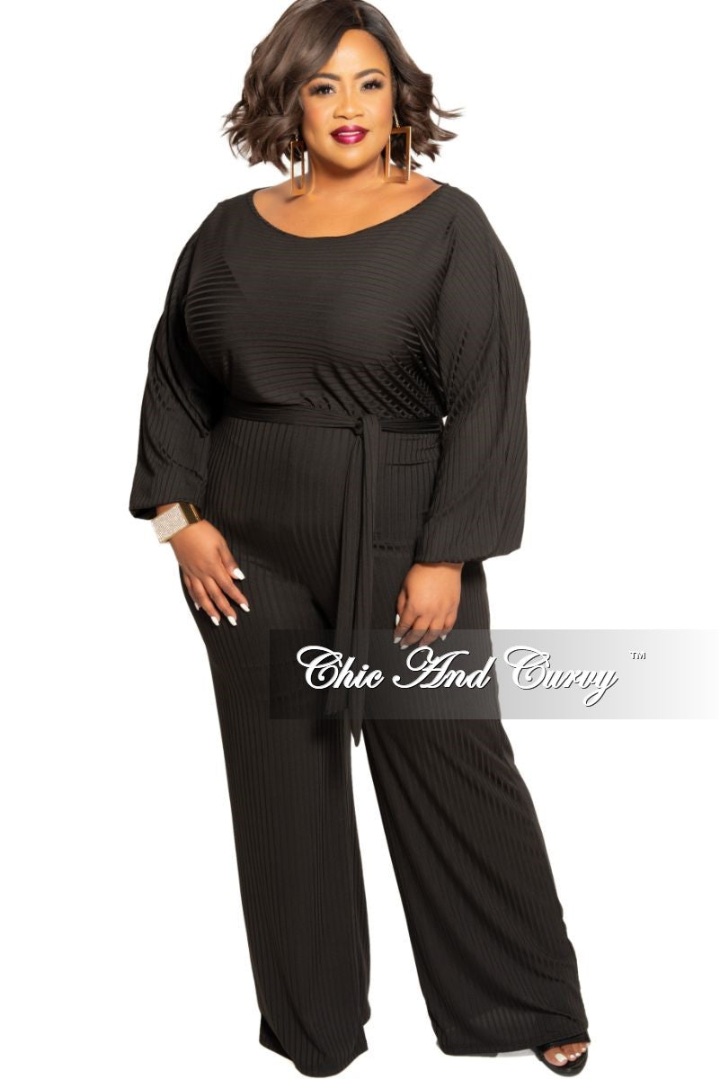 Final Sale Plus Size Ribbed Mesh Jumpsuit with Attached Tie in Black