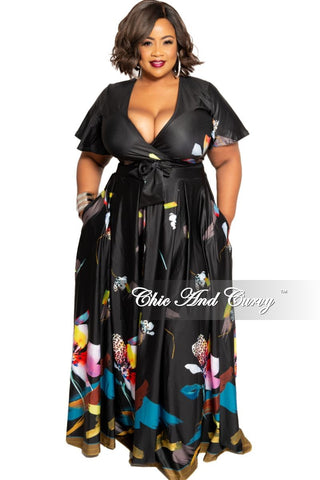 New Plus Size Faux Wrap Maxi Polka Dots Dress with Attached Tie in Black