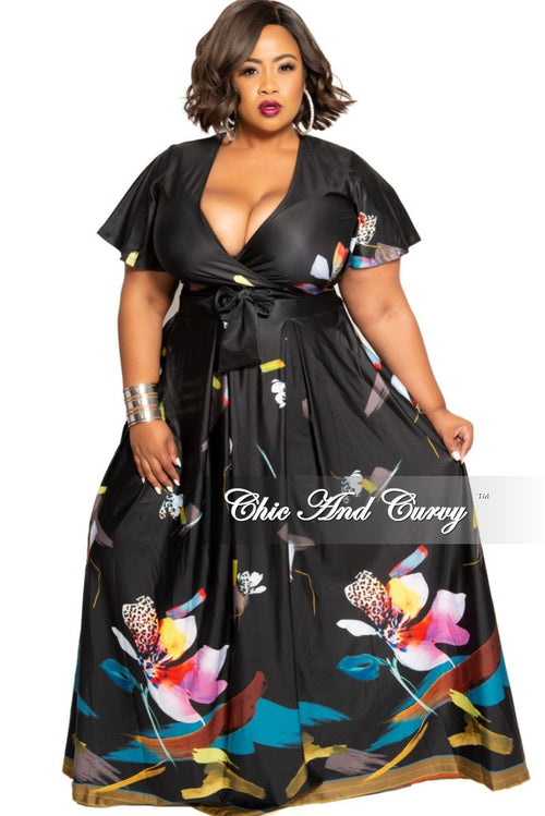 Final Sale Plus Size 2-Piece (Faux Wrap Crop Tie Top and Skirt) Set in Black Multi Color Floral Print