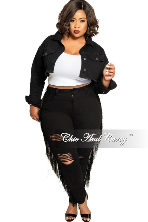 Final Sale Plus Size Black High Waist Distressed Jeans with Tassel Trim