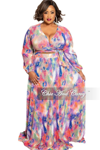 Final Sale Plus Size 2-Piece Pleated Faux Wrap Bow Tie Top and Skirt Set in Navy and Purple